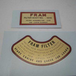 Décalcomanies de filtre à huile (type WILLYS MB)