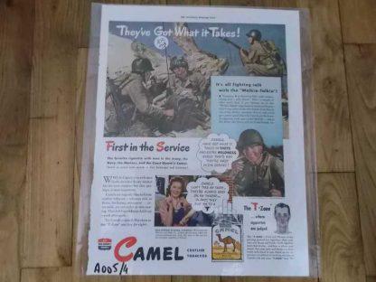 PUB originale CAMEL datée 1943