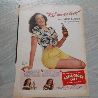 PUB originale ROYAL CROWN COLA de 1944 avec une PIN UP