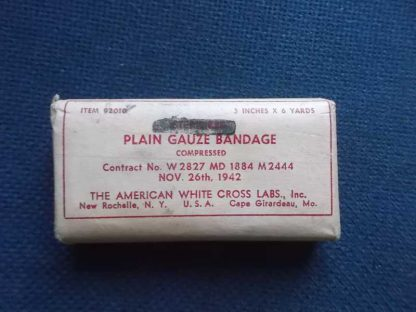 Bandage AMERICAN WHITE CROSS LABS daté 1942 (3inch/6yards)