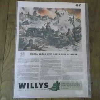 PUB JEEP WILLYS datée 1944 (signal corps)
