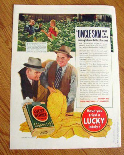 Paquet vert de 20 cigarettes LUCKY STRIKE de 1937