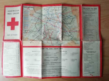 Carte de PARIS de l' AMERICAN RED CROSS de 1945