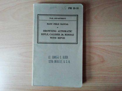 FM 23-15 daté 1940 (FM BAR)