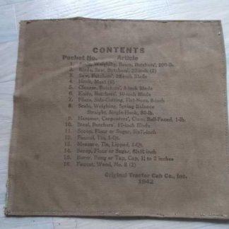 Inventaire d'ustensiles de cuisine US datée 1942