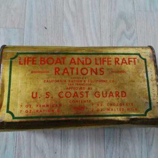 Boite vide de ration de survie des COAST GUARD de 1945