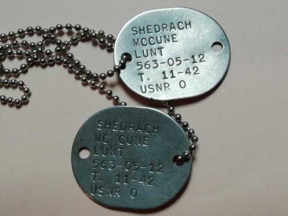 Dog tag USN daté 1942 (Mccune)