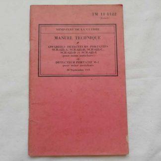 TM 11-1122 daté 1943 (détecteur de mine) en français
