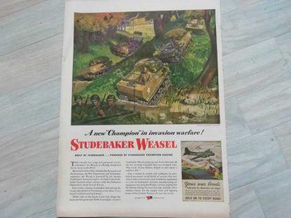 PUB originale STUDEBAKER WEASEL datée 1944