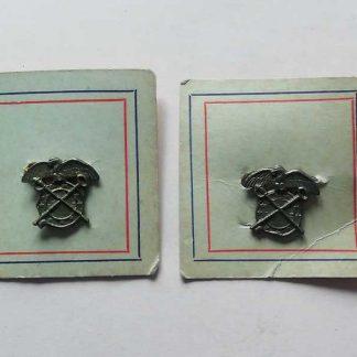 Paire d'insignes de col US d'officier QUATERMASTER