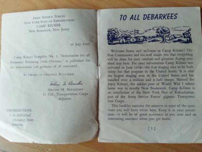 Livret sur le Camp KILMER daté 1945