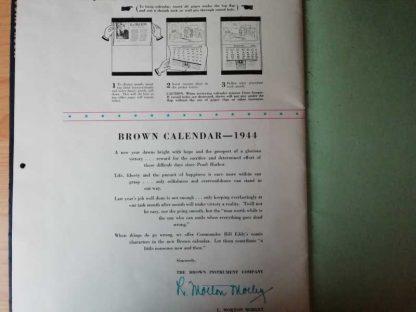 Calendrier humoristique daté 1944