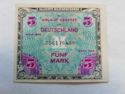 Billet US de 5 mark daté 1944