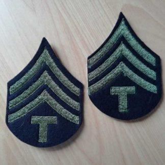 Chevrons de TECHNICAL SERGEANT 4th grade (brodés vert)