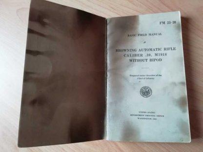 FM 23-20 daté 1940 (FM BAR sans bipied)