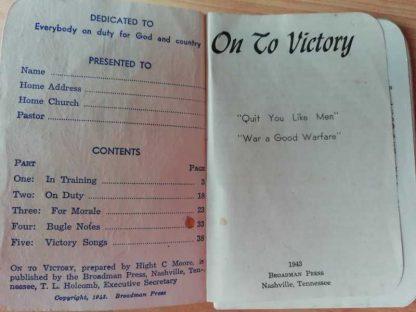 Livret religieux ON TO VICTORY de 1943