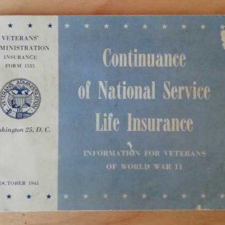 Livret LIFE INSURANCE daté 1945